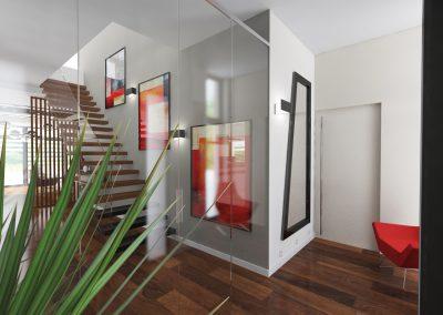 Projektowanie wnętrz domu w Solcu Kujawskim - schody na góę