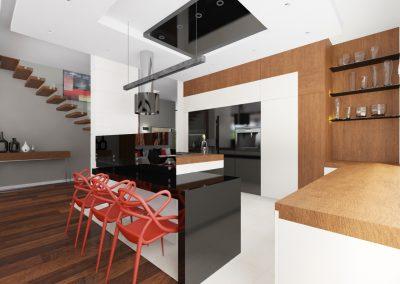 Projekt wnętrza domu w Solcu Kujawskim - czerwona designerskie krzesła