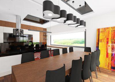 Projekt wnętrza domu w Solcu Kujawskim - salon z jadalnią