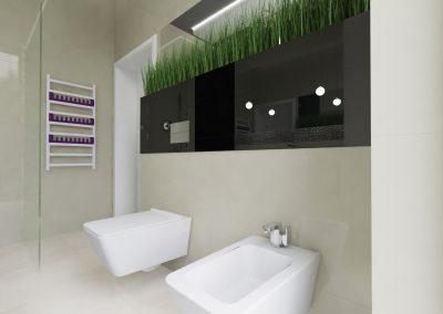 Projekt wnętrza domu w Solcu Kujawskim - nowoczesna i luksusowa łazienka z toaletą