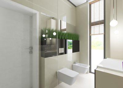 Projekt wnętrza domu w Solcu Kujawskim - łazienka z toaletą