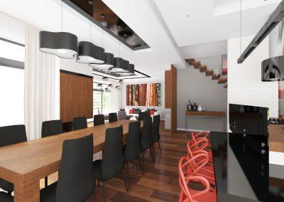 Projekt wnętrza domu w Solcu Kujawskim - otwarta przestrzeń z jadalnią